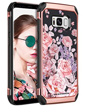 online store ea7f9 b43fe BENTOBEN Silicone Case for Samsung Galaxy S8, Samsung S8 Case Shockproof,  Anti-scratch Hybrid Hard PC Soft TPU Flower Pattern Protective Case for ...
