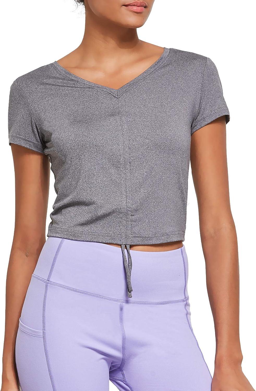 Ogeenier Womens Short Sleeve Crop Tops T-Shirt Yoga Workout Dance Pilates V Neck Tops Shirts