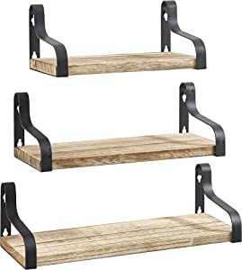 Halter Wall Mounted Decorative Hanging Shelf, Space-Saving, Durable, Easy to Install, for Home and Office Space - Pine Wood - 3-in-1 Shelf Set