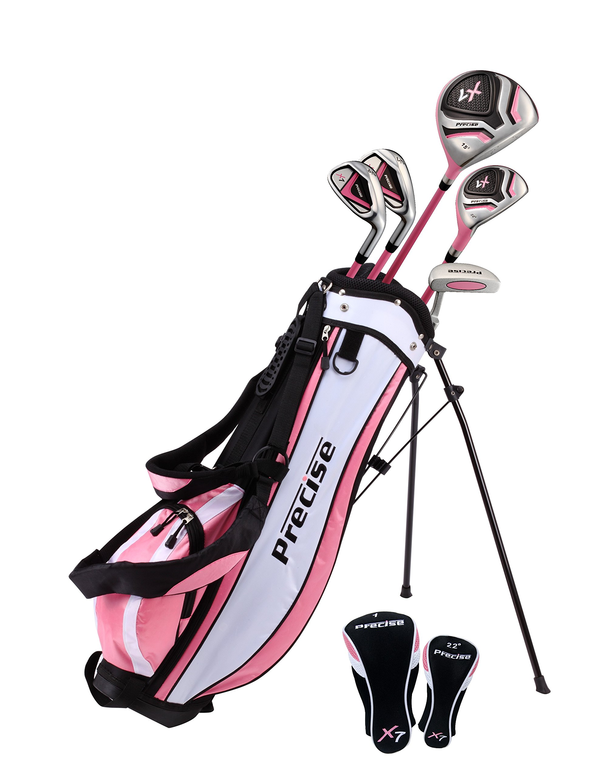 Distinctive Girls Pink Junior Golf Club Set for Age 9 to 12  ( Height 4'4'' to 5' ), Left Handed Only,  Set Includes: Driver, Hybrid Wood, 2 Irons, Putter, Bonus Stand Bag & 2 Headcovers by Precise