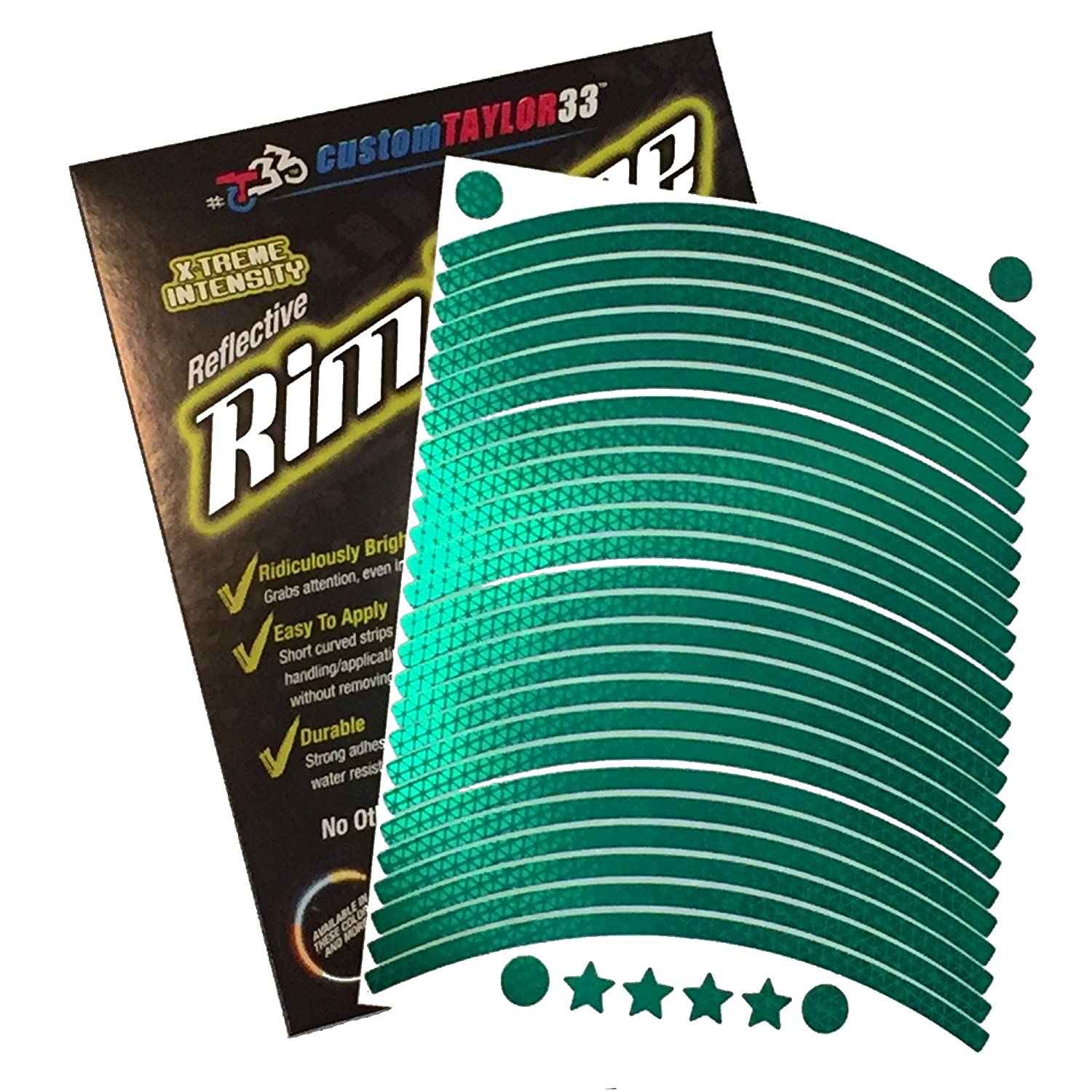 17 17 customTAYLOR33 CA-GreenRims-17 Rim Size for Most SportsBikes Must Select Your Rim Size All Vehicles Green High Intensity Grade Reflective Copyrighted Safety Rim Tapes Rim Size for Most SportsBikes