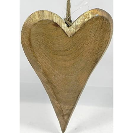 Giftworks Wooden Hanging Heart In Natural Large