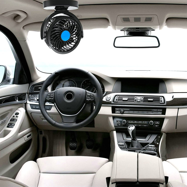Ventilatore per Auto con Spina Accendisigari Rotazione Orizzontale di 180/°// Verticale di 360/° Ventola di raffreddamento per auto 12V Doppia Testa e Velocit/à del Vento Libera Bassa Rumorosit/à