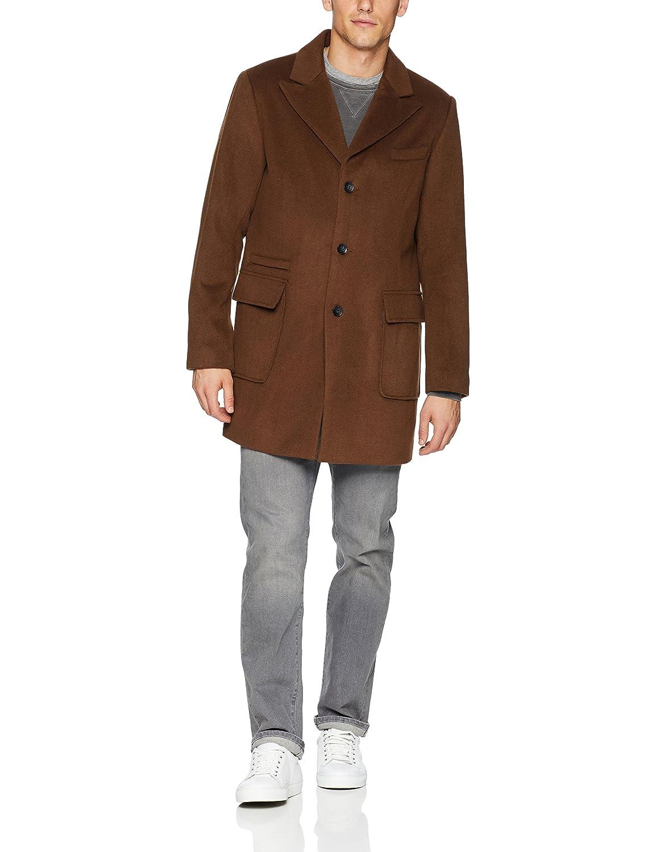 Sean John Mens Wool Coat with Peak Lapel Wool Coat