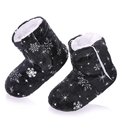 Christmas Boots For Girls.Rongblue Kids Girls Boys Christmas Snowflake Slipper Shoes Soft Warm Fleece Lining Non Slip Winter House Boot Socks 2 7 Year Old