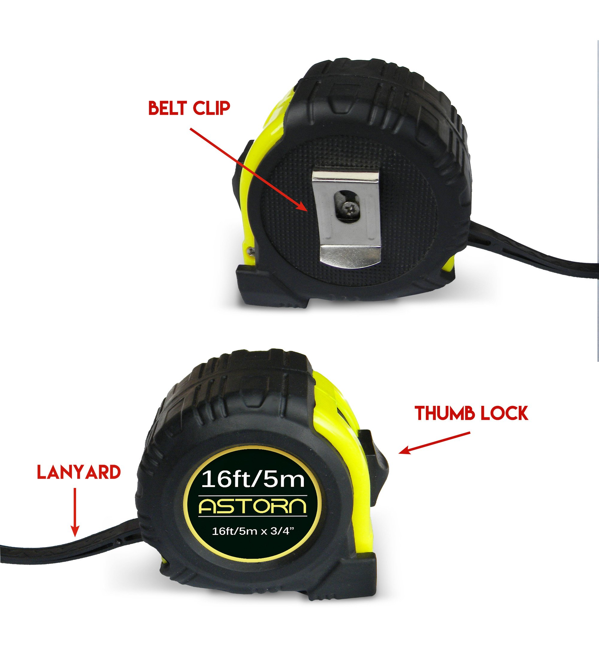Measuring Tape For Contractors & DIY | Tape Measurer (Cinta Metrica) | Metric & Inches Measuring Tape for Construction | Heavy Duty Tape Measure with Smooth Sliding Nylon Coated Ruler by Astorn by Astorn (Image #3)