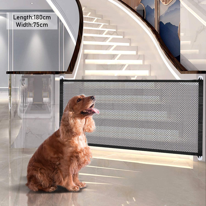 Magic Gate para perros, Puerta de aislamiento para mascotas, Magic Gate Portátil, puerta de escalera plegable portátil y segura para mascotas, Puerta mágica para perros, Red mágica para Perro