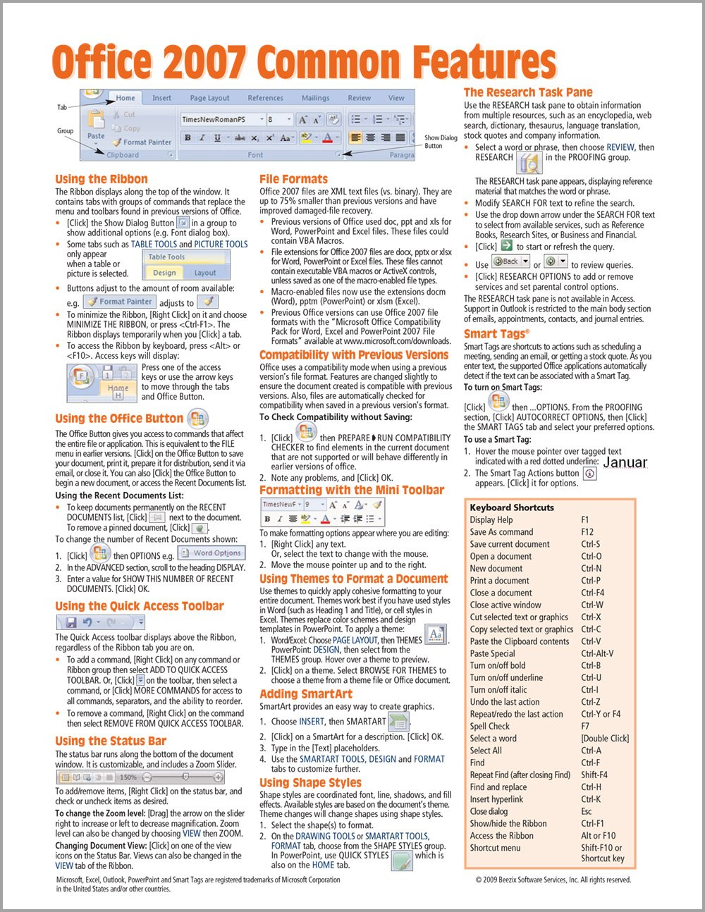 Read Online Office 2007 Common Features Quick Reference Guide (Cheat Sheet of Instructions, Tips & Shortcuts - Laminated Card) PDF