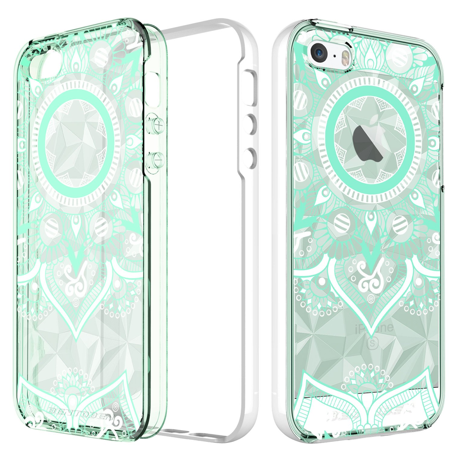 newest dd5fe 5ca7c BENTOBEN Phone Case for Apple iPhone SE iPhone 5S iPhone 5, Slim Clear  Pretty Mandala Cell Phone Cases, Shockproof Protective Hybrid 2 in 1 Soft  TPU ...
