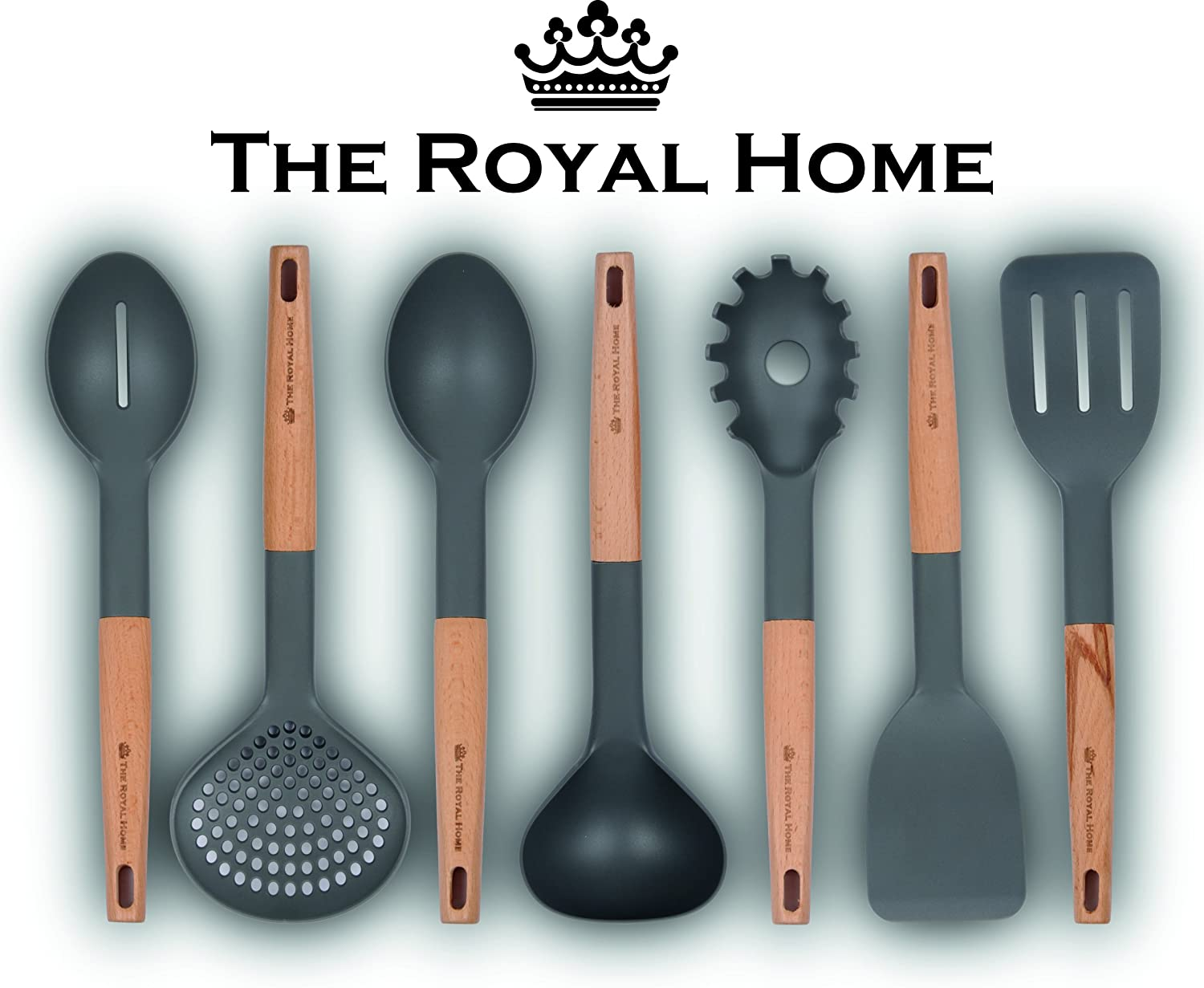 Kitchen Utensil Set | 7 Piece Wooden Handle Cooking Utensils | Nonstick Kitchen Gadgets | Nylon Kitchen Tool Kit | Pasta Spoon, Slotted Turner, Spoon, Spatula, Strainer, Ladle, Slotted Spoon The Royal Home