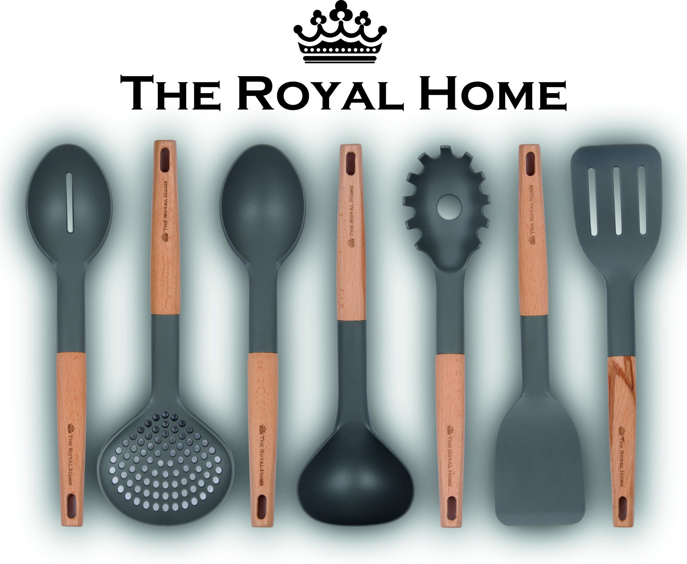 Kitchen Utensil Set | 7 Piece Wooden Handle Cooking Utensils | Nonstick Kitchen Gadgets | Nylon Kitchen Tool Kit | Pasta Spoon, Slotted Turner, Spoon, Spatula, Strainer, Ladle, Slotted Spoon