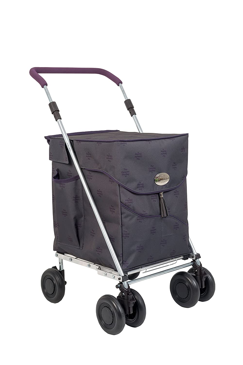 Sholley NEW Deluxe Range - 'The Kensington' Graphite with Purple Piping Design- Foldable Shopping Trolley, Grocery Cart