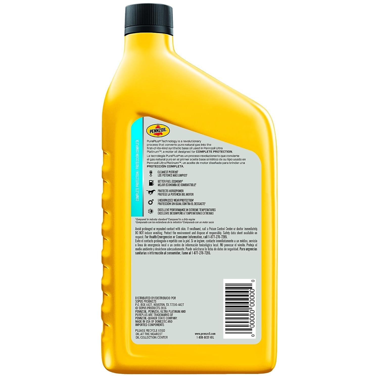 Amazon.com: Pennzoil Ultra Platinum Full Synthetic Motor Oil 5W-20, 5 Quart - Pack of 3: Automotive