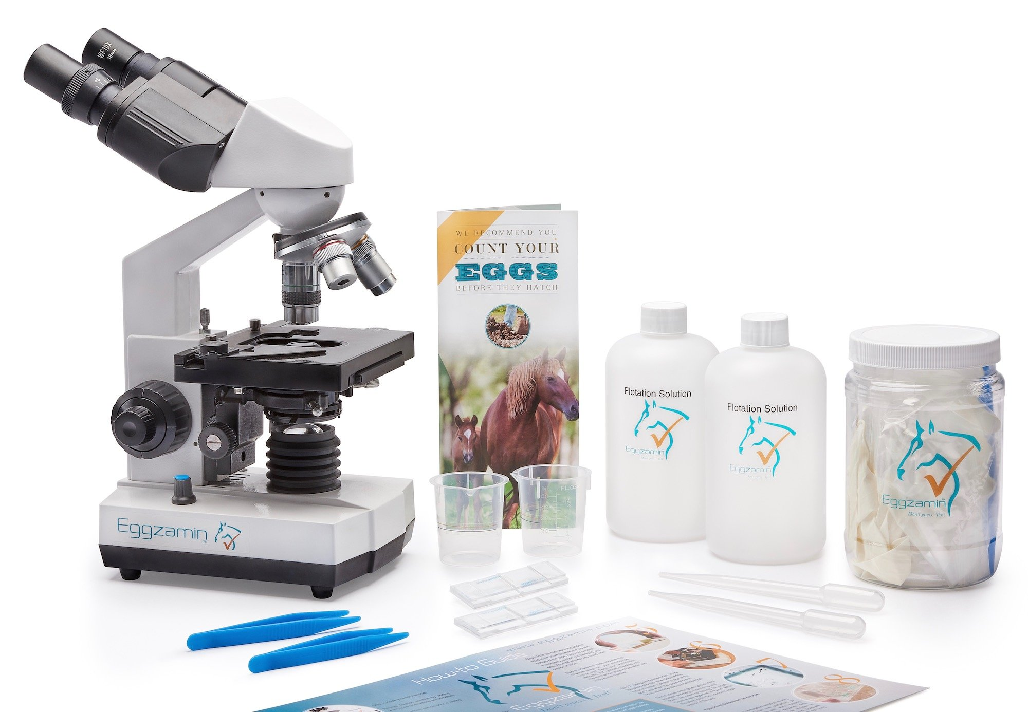 Professional Microscope Kit for Fecal Egg Count, by Eggzamin. Binocular Microscope and Accessories for Conducting Fecal Egg Count. Everything you need to test your animals for parasites. Instructions by Eggzamin