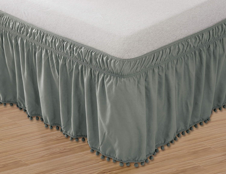 Elegant Comfort Top-Knot Tassle Pompom Fringe Ruffle Skirt Around Style Elastic Bed Wrap- Wrinkle Resistant 16inch Drop, Queen/King, Grey
