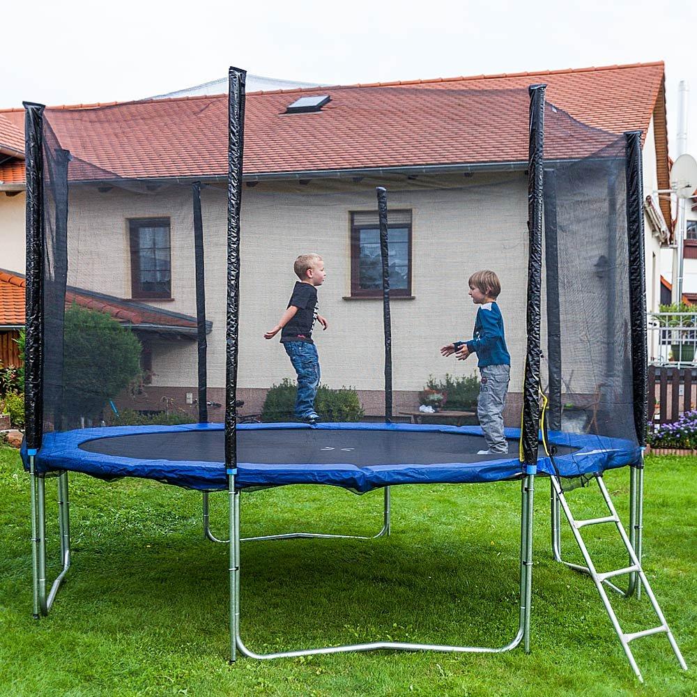 Gartentrampoline Trampoline Outdoor-Trampoline Fitness-Trampoline 370cm , inkl. Randabdeckung , Sicherheitsnetz und Leiter