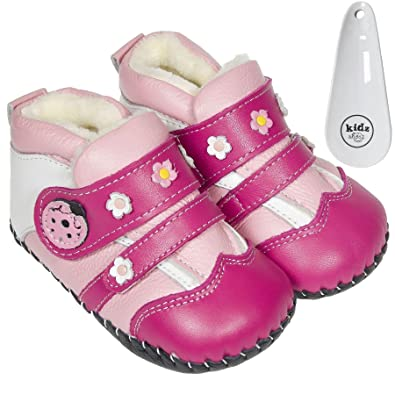 Freycoo Genuine Leather Soft Sole Toddlers Girls Shoes Boots 120mm 125mm 135mm