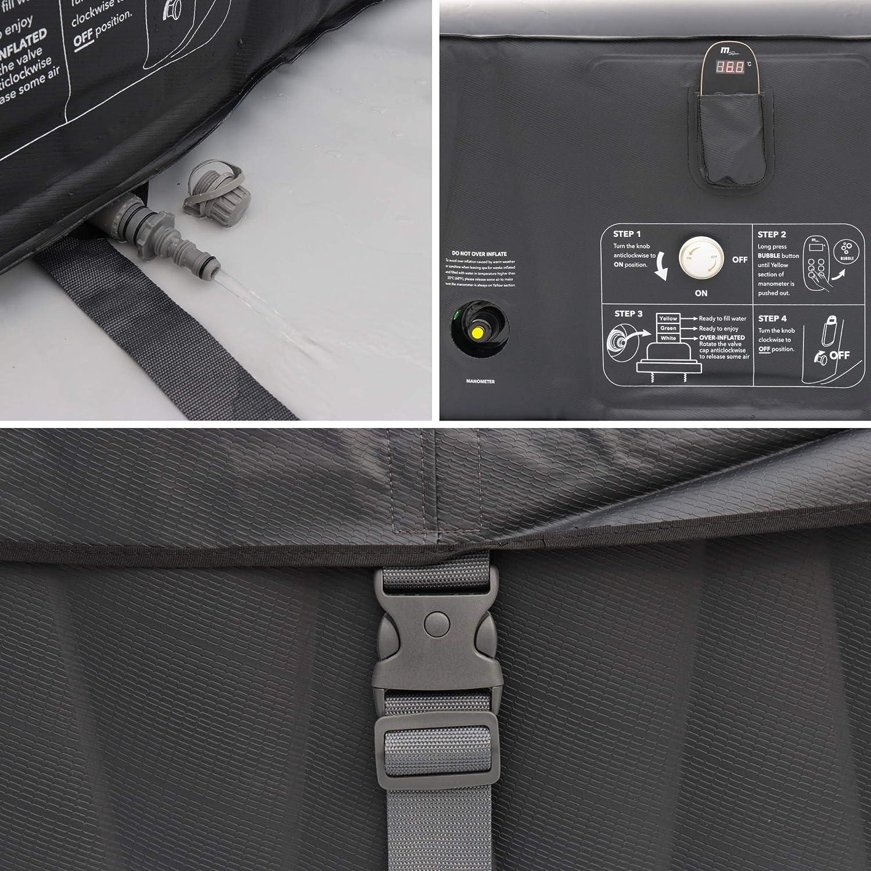 Pompe Spa MSPA Gonflable carr/é gonfleur Tapis de Sol et t/él/écommande de contr/ôle Chauffage b/âche Isotherme Filtre PVC Jacuzzi 6 Personnes carr/é 185 cm Tekapo 6 Noir