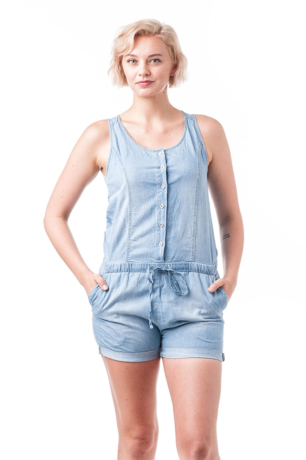 Racer Back Chambray Overall Short Khanomak 90040