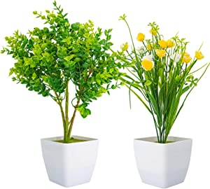 2 Pack Artificial Plants in Pots for Home Decor Indoor Aesthetic, Fall Décor Faux Fake Flowers Eucalyptus Greenery Real Touch Floor Leave for Desk and Shelf in Bathroom / Bedroom