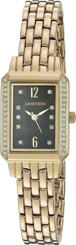 Armitron Women's 75/5411BKGP Swarovski Crystal Accented Gold-Tone Bracelet Watch