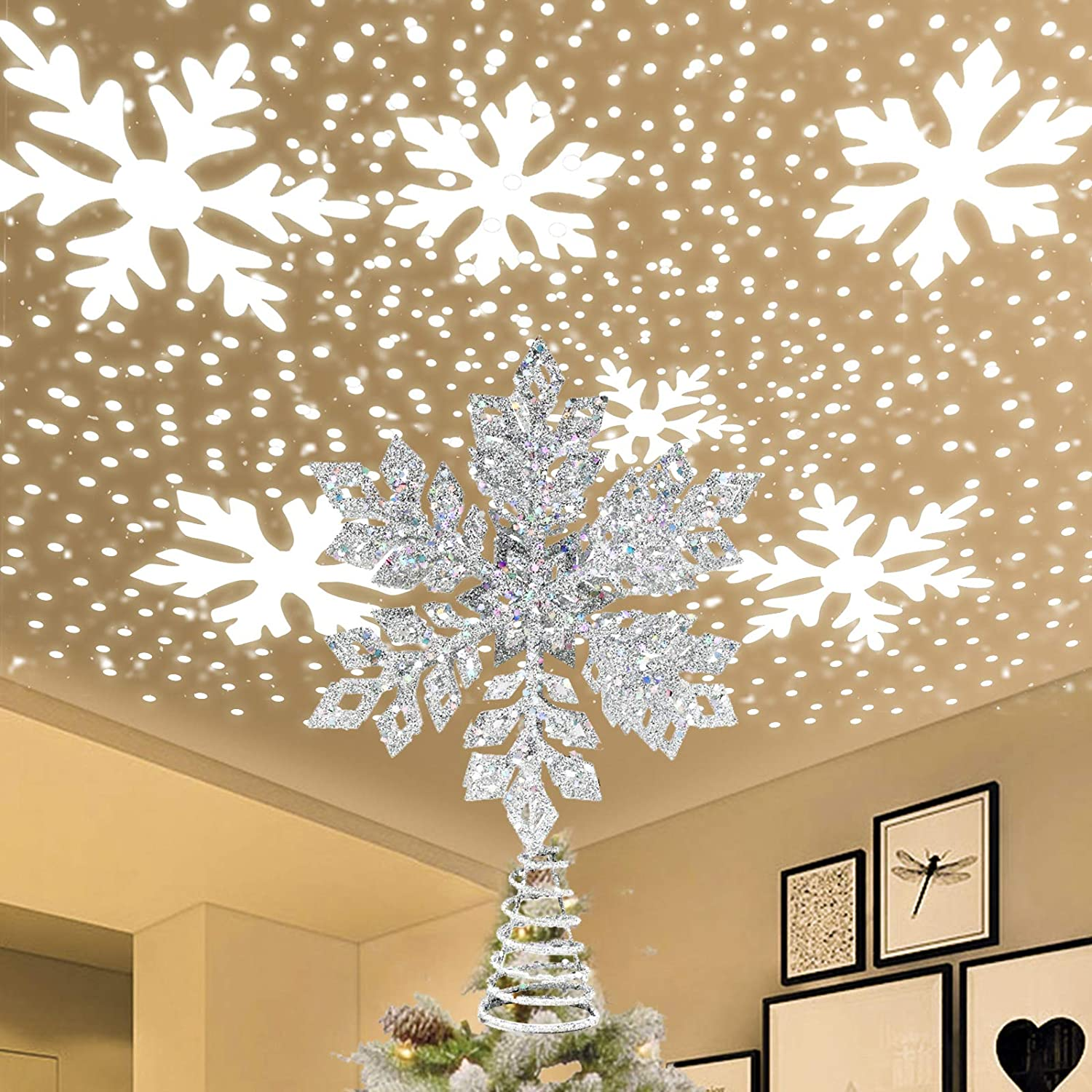Amazon Com Iidee Christmas Tree Topper Metal Glittery Silver Snow Tree Topper With 3d Rotating Snowflake Led Projector For Xmas Holiday Party Gift Décor Kitchen Dining