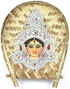 ASHIRWAD Goddess Durga Maa Devi Face Idol Statue Wall Hanging Made of Terracotta & Shola on Bamboo Kulo (White)