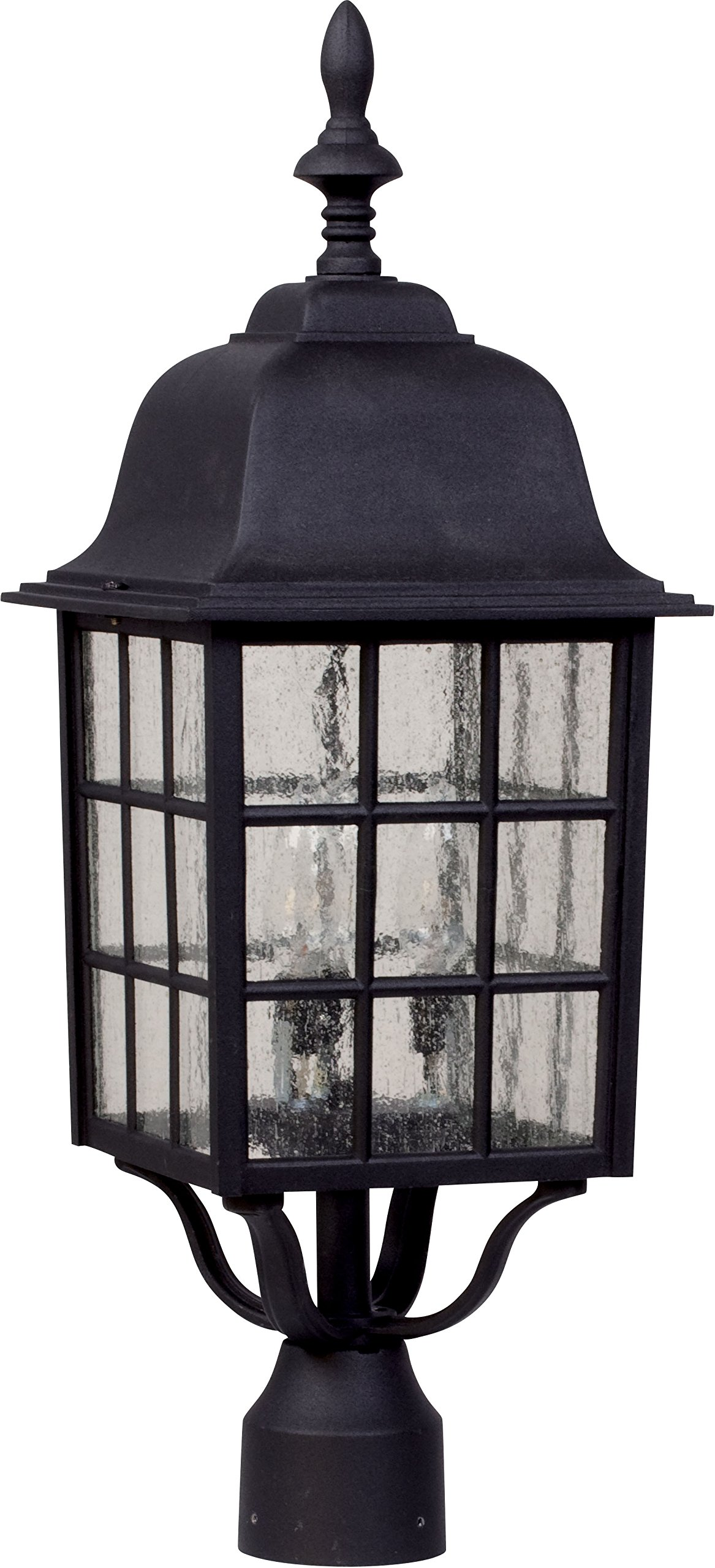 Craftmade Z575-05 Post Mount Light with Seeded Glass Shades, Black Finish