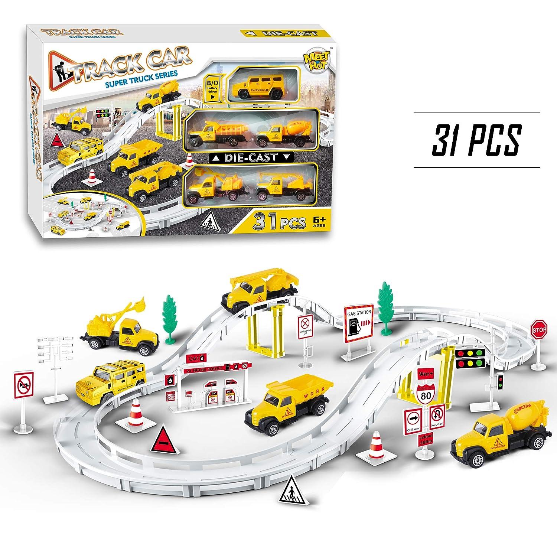 MEETHOT Autos Rennstrecken-Sets Spleißen Tracks Rennbahn, 5 Mini Baufahrzeuge, Spielzeug Geschenk Für Kinder 3 Jahren, 31-teilig HAIPENGYING TOYS FACTORY