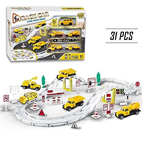grande vendita massima qualità modellazione duratura Macchinine Pista di Auto Racing Game 5 Camion e Accessori per Bambini - 31  Pezzi