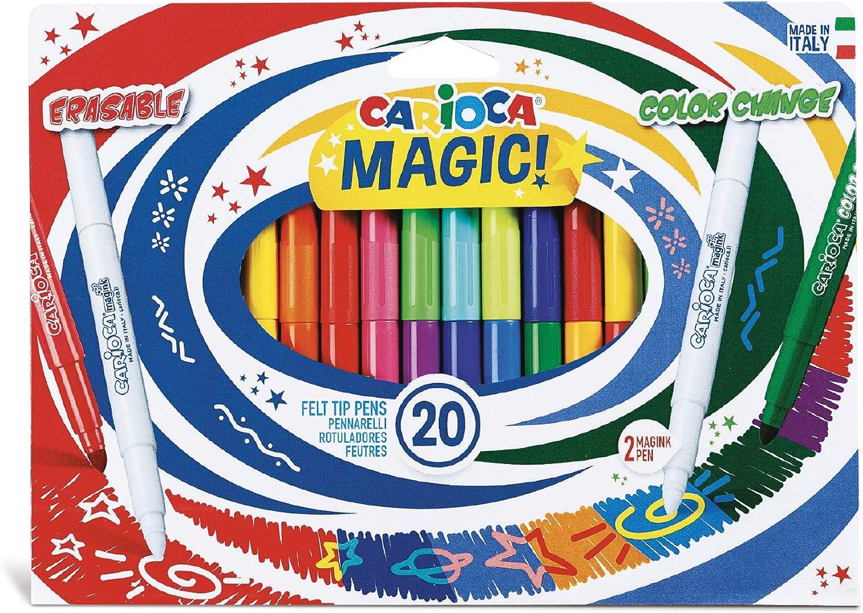 CARIOCA MAGIC MARKERS | 41369 - Caja de Rotuladores con Tinta Mágica Cambia Color, Colores Surtidos 20 Unidades