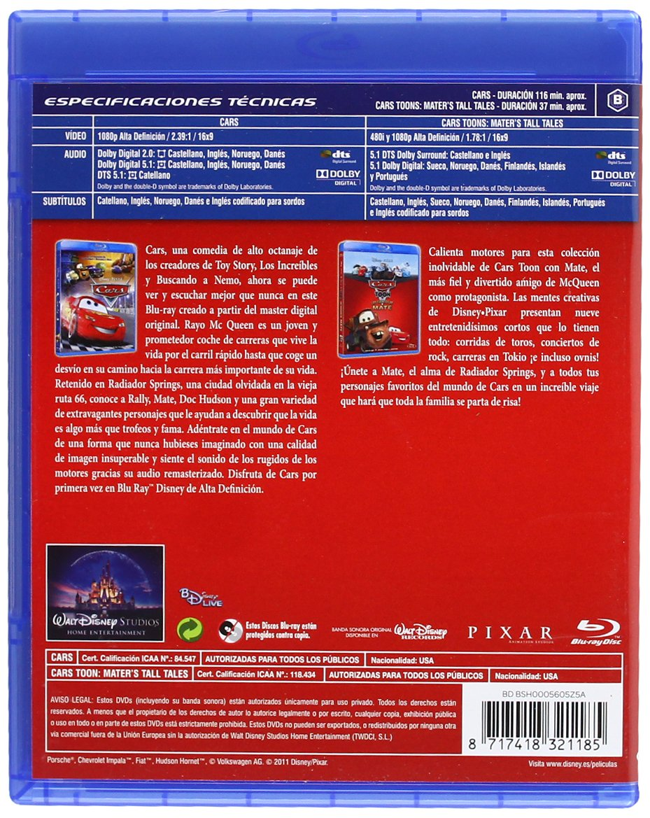 Amazon.com: Pack Cars + Cars Toons (Blu-Ray) (Import Movie) (European Format - Zone B2) (2011) No Disponible; Lasseter,John: Movies & TV