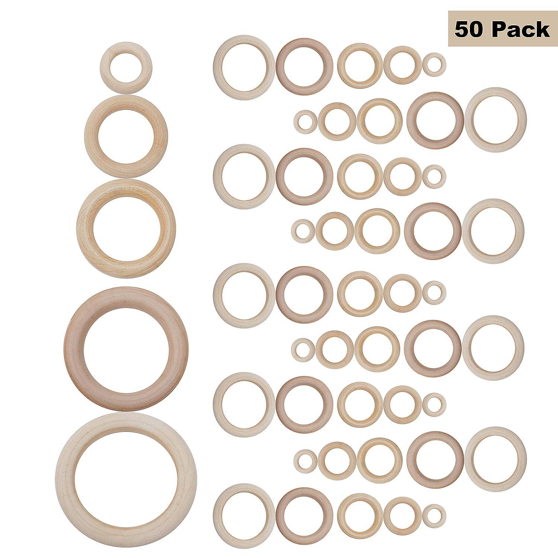 Aros de Madera (Pack de 50) - Aros de Madera para Manualidades Tamaños Variados (70mm/65mm/50mm/40mm y 30mm) Para Manualidades, Cortina, Macramé y Conectores de Joyas
