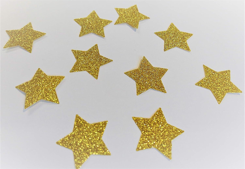 SAFIRMES 10 Etoiles Patch hotfix Transfert thermocollant Glitter Or Gold 2,5cm Effet Bling