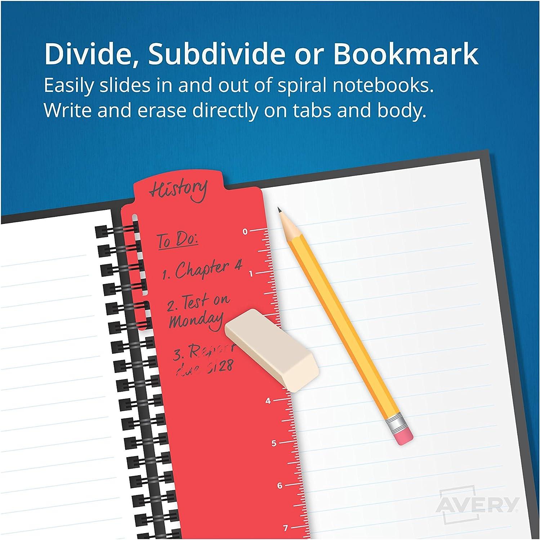 verschiedene Farben 3 Taben 1 Set Spiralbindung Avery 24980 Lesezeichen-Trennbl/ätter Schreiben und L/öschen
