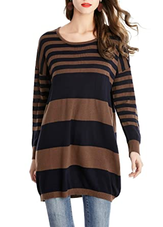 5983e64c8b2b Acelyn Women s Striped Long Pullover Sweaters Tops Long Sleeve Casual Loose Knit  Sweater Dresses Coffee One Size at Amazon Women s Clothing store