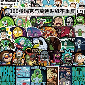 100PCS Rick and Morty Stickers for Laptop and Computer, Anime Cartoon Waterproof Vinyl Stickers for Water Bottle Hydro Flask Car Bumper Luggage,Cute Graffiti Decals for Adults (Rick and Morty)