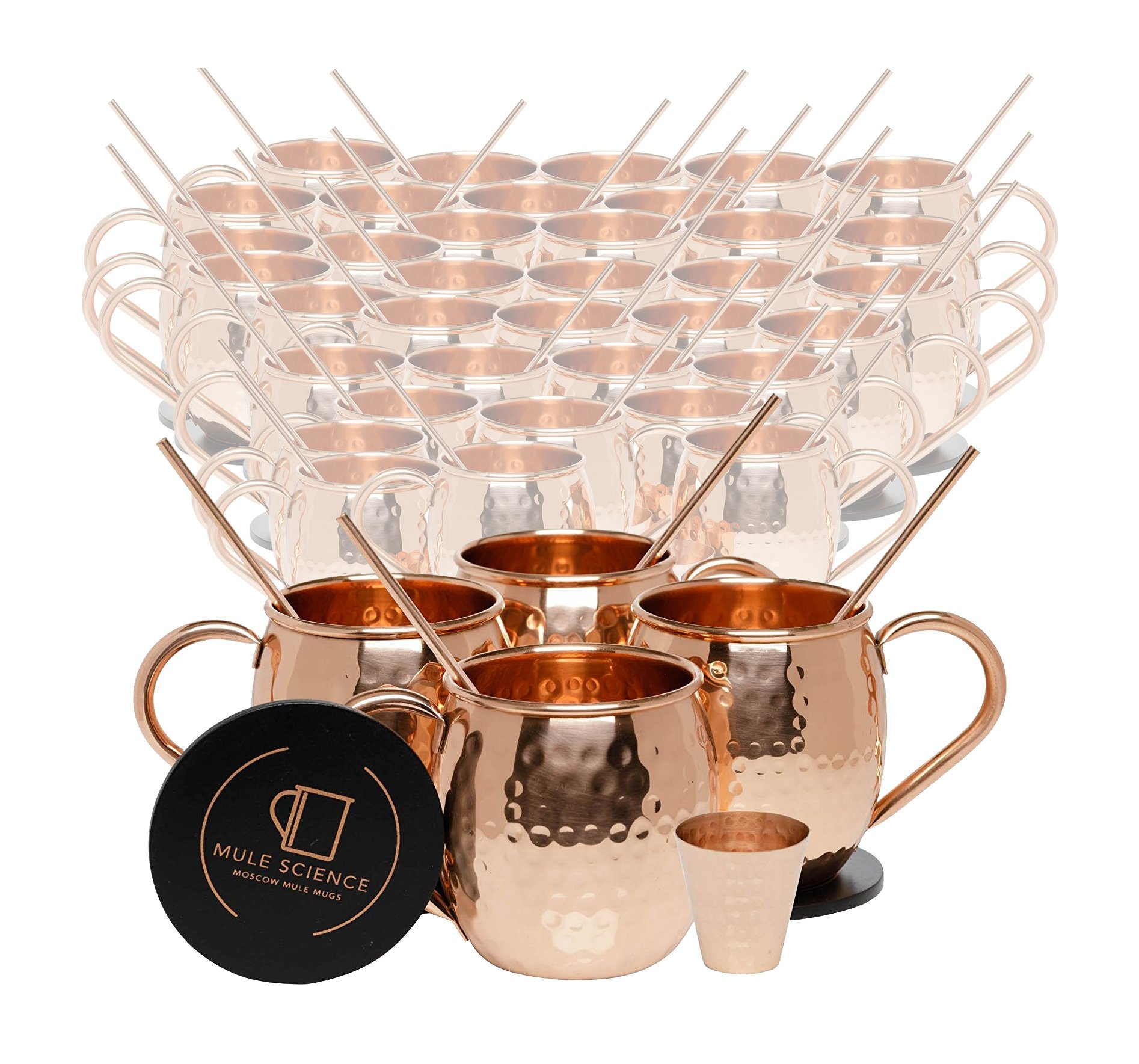 Set of 40 Pure Copper Moscow Mule Mugs by Mule Science with BONUS: Highest Quality Cocktail Copper 40 Straws, 2 Shot glasses and 40 coasters!