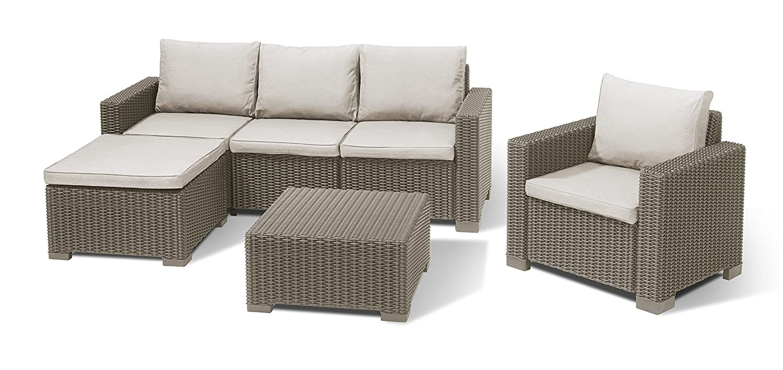 Allibert Lounge Moorea Set, cappuccino/panama sand, 199 x 68 x 72 cm, 229915P