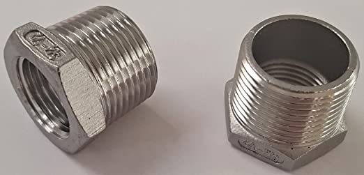 Stainless Steel 304 Pipe Fitting Hex Bushing 3//4 Male NPT x 1//2 Female NPT Thread Pack of 5 ADaddysChoice