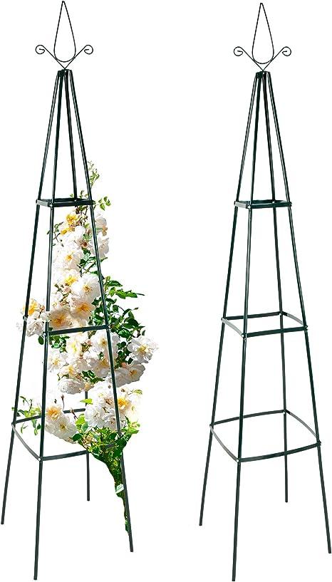Set de 2 esbeltas pirámides para rosas, 40 x 40 x 200 cm: anaterra ...