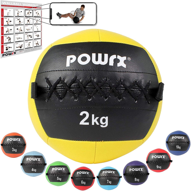 POWRX Wall ball Balón medicinal 2 kg - Ideal para ejercicios de ...