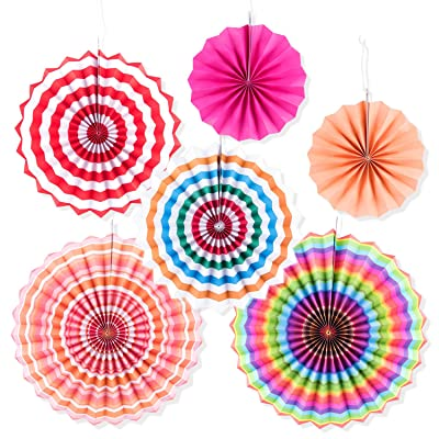 Super Z Outlet Fiesta Colorful Paper Fans Round Wheel Disc Southwestern Pattern Design for Party, Event, Home Decoration (Spring Easter): Toys & Games