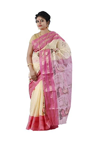 KALPANA ENTERPRISE Sakuntala Tant Made Self Designed Saree For Women s-Off  White And Pink  Amazon.in  Clothing   Accessories 78c8eefedf