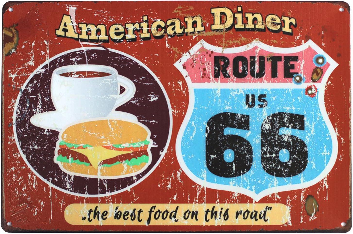 UOOPAI American Dinner Route US 66 The Best Food On This Road Vintage Metal Sign