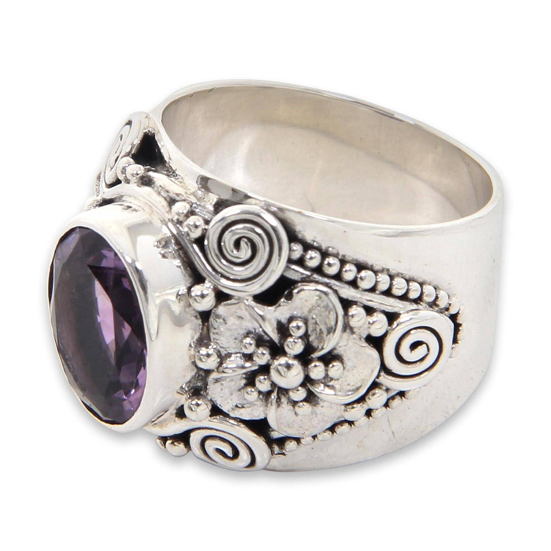 NOVICA Amethyst .925 Sterling Silver Floral Ring Lilac Frangipani