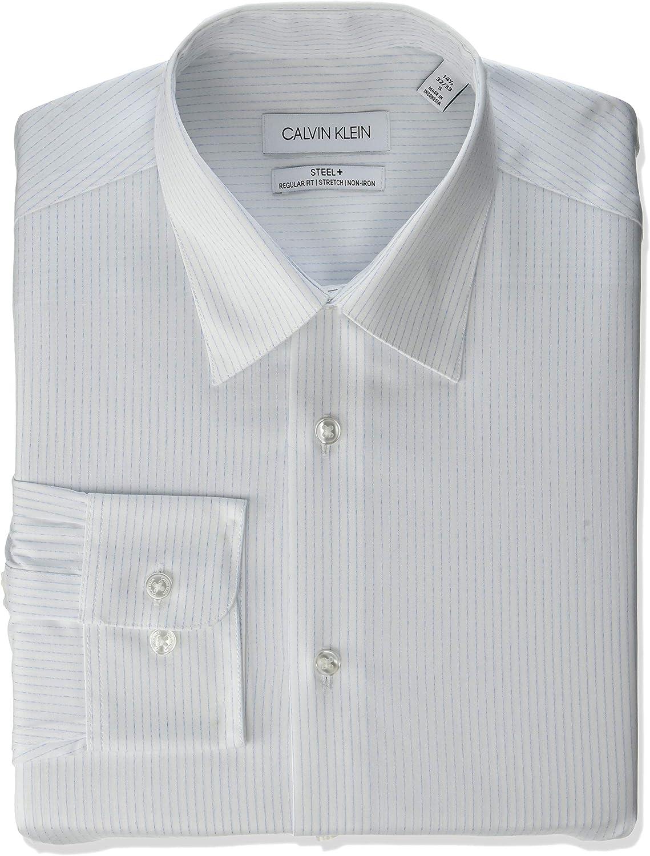 Calvin Klein - Camisa de vestir para hombre, ajuste regular, no necesita planchado, a rayas - - 44 cm cuello 91/ 94 cm manga (XL): Amazon.es: Ropa y accesorios
