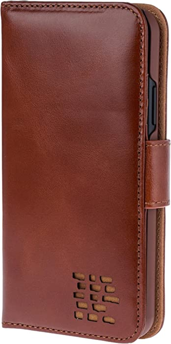 iPhone XR Case – Ed Hicks iPhone XR Leather Case – Genuine Leather – Luxury Folio Wallet Flip – Card Slots – Bill Pocket – Double Protection – Color Matched Phone Holder – Vintage Brown