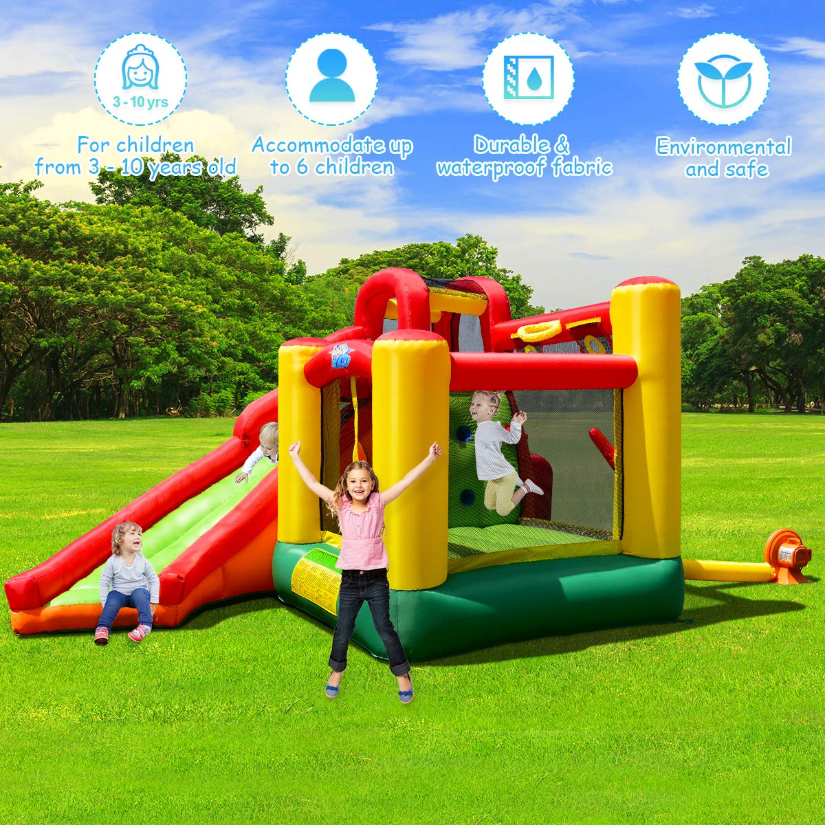Costzon Inflatable Bounce House, 11 in 1 Mighty Kids Jump and Slide Castle w/ Climbing Wall, Tunnel, Basketball Hoop, Playing Area, Including Oxford Carry Bag, Repairing Kit, Stakes, 780W Air Blower by Costzon (Image #2)