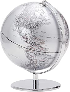 Torre & Tagus Latitude World Desk Globe 9.5 Inch with Chrome Metal Base Stand for Home Office Classroom Living Room Mantle Centerpiece, White Silver, 9.5
